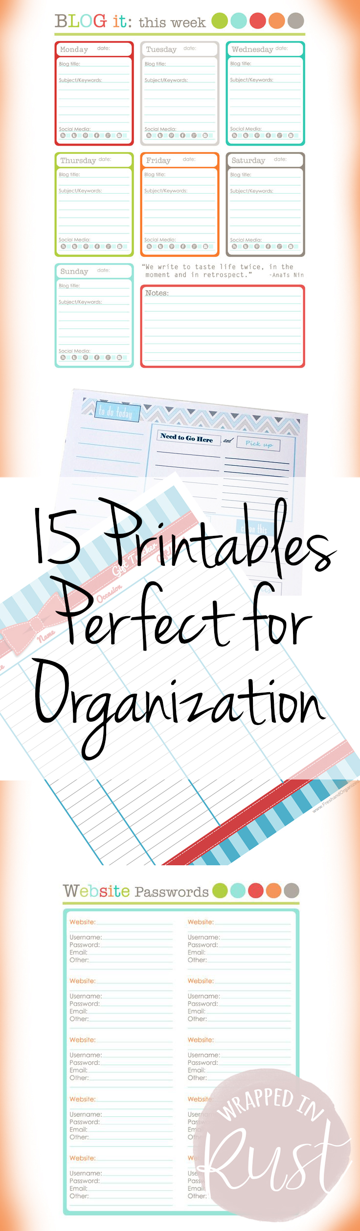 photograph relating to Home Organization Printables named 15 Printables Suitable for Enterprise - Wrapped inside of Rust