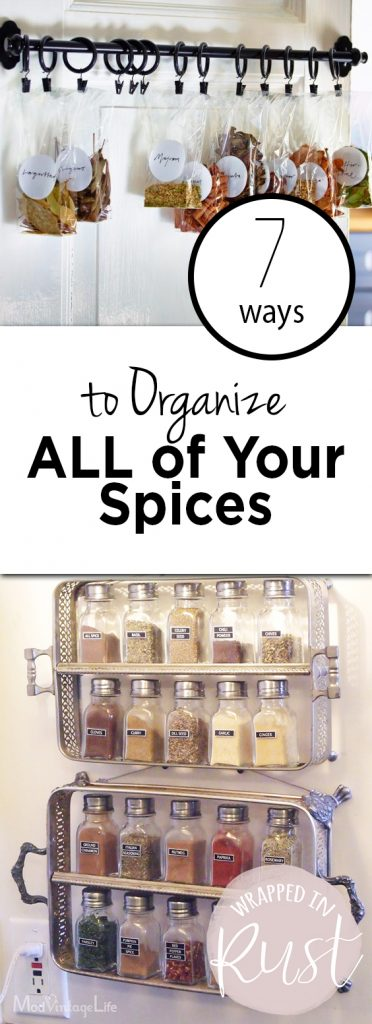 7 Ways to Organize ALL of Your Spices   Organize Kitchen, Kitchen Organization, Spice Organization, Spice Organization DIY, Easy Spice Organization