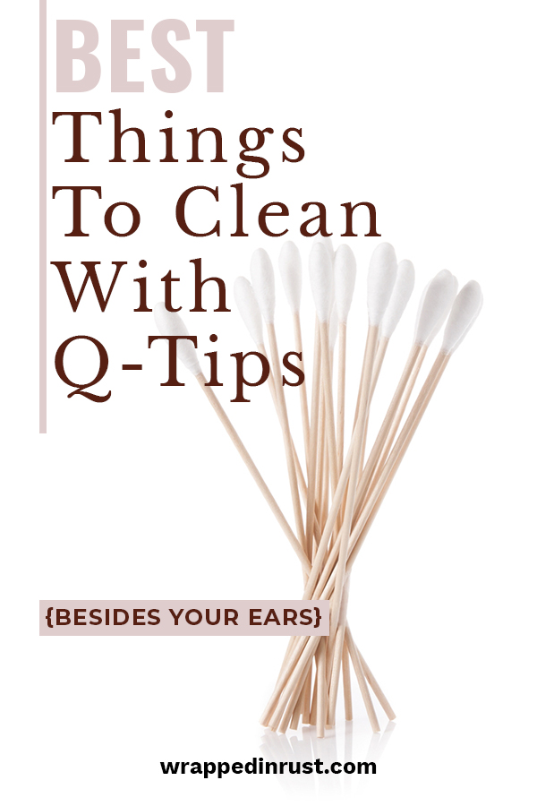 Q-tips are not just for cleaning ear wax. We have tips for you that will show you the many surprising things that Q-tips clean besides ears. Use them in the bathroom and kitchen to make your cleaning a little easier. These ideas will change the way you clean and how your home looks. Take a look and see how you can improve your cleaning with these ideas. #homecleaningtips #cleaningwithqtips